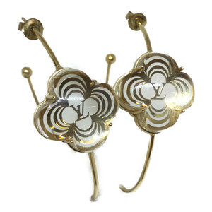 Auth Louis Vuitton Creole Arafori Half Hoop Earrings Gold