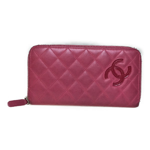Auth Chanel Long Wallet (bi-fold) Pink Lambskin