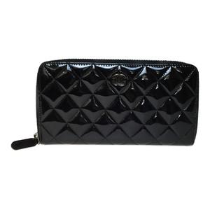 Auth Chanel Matelasse Enamel Leather Long Wallet (bi-fold) Black