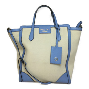 Auth Gucci Gucci Swing 368824 2WAY Leather,Canvas Shoulder Bag,Hand Bag Ivory,Light Blue