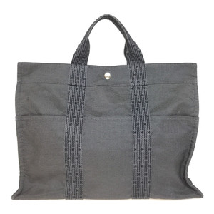 Auth Hermes Her Line MM Canvas Tote Bag Gray