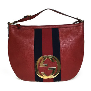 Auth Gucci 130771 Leather Handbag Tote Bag Red