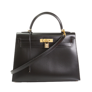 Auth Hermes Kelly 32 Handbag □G Stamp Mark Black
