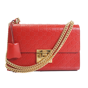 Gucci Guccissima 247902 Women's Leather Shoulder Bag Red