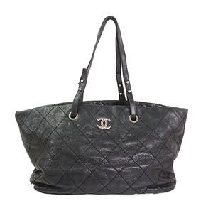 Auth Chanel Tote Bag On The Road Black Silver