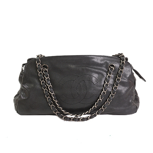 Auth Chanel  Chain Shoulder Bag Caviar skin Black Silver