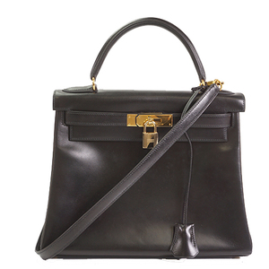 Hermes Kelly 28 ○U刻 Women's Leather Handbag Black