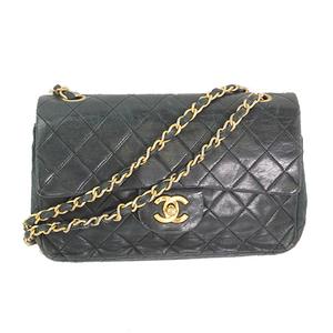 Auth Chanel Shoulder Bag Matelasse W Flap W Chain Lambskin Black Gold