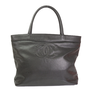Auth Chanel Tote Bag Caviar Leather Black