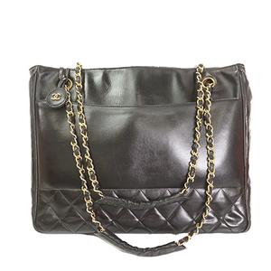 Auth Chanel Chain Tote Bag Matelasse Lambskin Black Gold