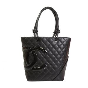 Auth Chanel Tote Bag Ligne Cambon Lambskin Black