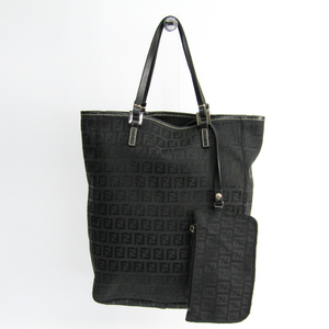 Fendi Zucchino 8BH006 Leather,Canvas Tote Bag Black