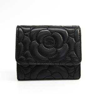 シャネル(Chanel) カメリア A37152 レディース  ラムスキン 財布(三つ折り) ブラック