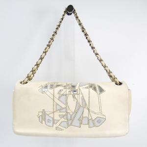 シャネル(Chanel) レディース レザー ショルダーバッグ オフホワイト