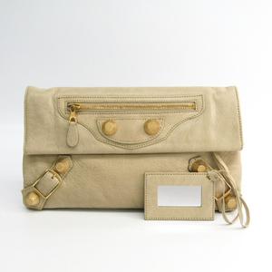 Balenciaga Giant Envelope 186182 Unisex Leather Clutch Bag Beige