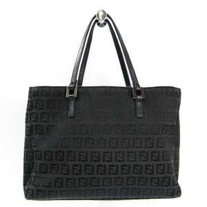 Fendi 8BH018 Women's Canvas,Leather Handbag Black