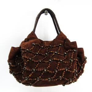 Loewe Nappa Aire 2007 Limited Women's Beads,Leather Handbag Brown