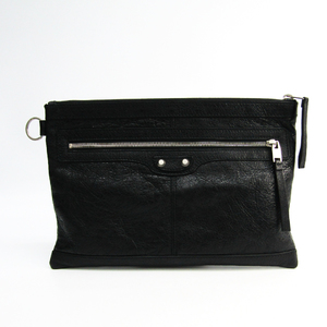 Balenciaga Classic Clip M 273022 Women's Leather Clutch Bag Black