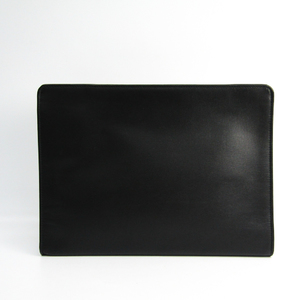 Valextra Unisex Leather Clutch Bag Black