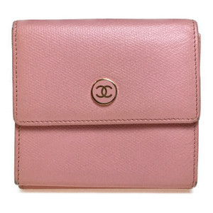 Auth Chanel Coco Button Leather Middle Wallet (bi-fold) Light Pink
