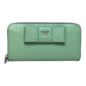 プラダ(Prada) Saffiano サフィアーノ フィオッコ 1ML506 ACQUAMARINA  長財布(二つ折り)ライトグリーン