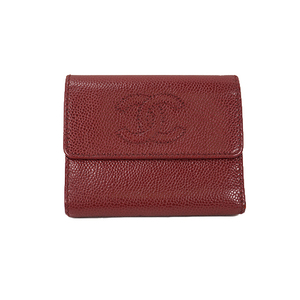 Chanel A13225 Women's  Caviar Leather Wallet (tri-fold) Red,Wine