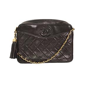 Chanel Matelasse Chain Shoulder Bag  With Fringe Women's Leather Shoulder Bag Black