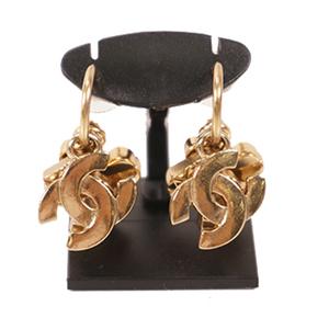 Chanel クローバー ココマーク No.5 メッキ ゴールドカラー Half Hoop Earrings Gold