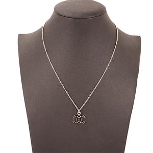Chanel シャネル ネックレス ココマーク メッキ シルバーカラー Women's Pendant Necklace (Black,Silver)
