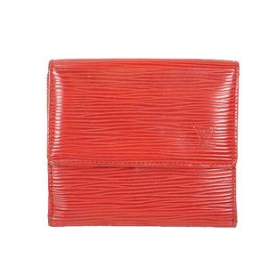 Louis Vuitton Epi Porte Monnaie Billet Carte Credit M63482 Women's Epi Leather Wallet (tri-fold) Castilian Red,Red