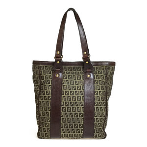Fendi 8BH161 Canvas Tote Bag Brown