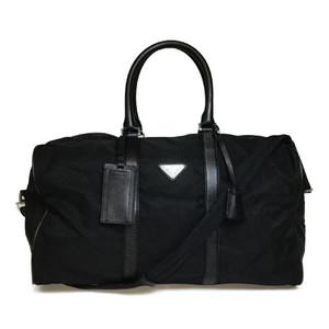 Auth Prada Nylon Boston Bag Black