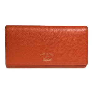 Auth Gucci 354498 スウイング コンチネンタル Swwing Continental Leather Long Wallet (bi-fold) Orange,Rose Pink