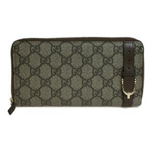 Auth Gucci GG Supreme 309758 PVC Long Wallet (bi-fold) Beige