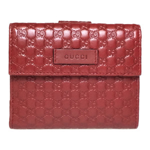 Auth Gucci MicroGuccissima 464916 W Hook Leather Middle Wallet (bi-fold) Red