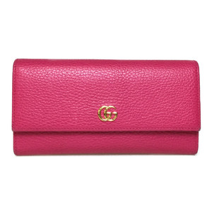 Auth Gucci 456116 Petit Marmont Leather Long Wallet (bi-fold) Pink