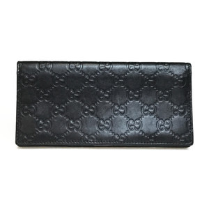 Auth Gucci Guccissima 181715 Leather Long Wallet (bi-fold) Black