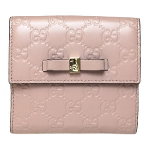 Auth Gucci Guccissima 406925 GG Leather Middle Wallet (bi-fold) Pink,Pink Beige