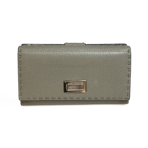 Fendi Selleria 8M0308 Peekaboo Wallet Leather Long Wallet Gray Beige