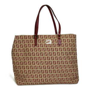 Fendi Zucchino Canvas Tote Bag Beige/Red
