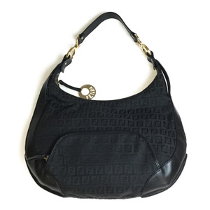 Fendi Zucchino 8BR465 Leather/Nylon Shoulder Bag Black