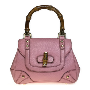 Auth Gucci 137368 Bamboo Handbag Leather Pink
