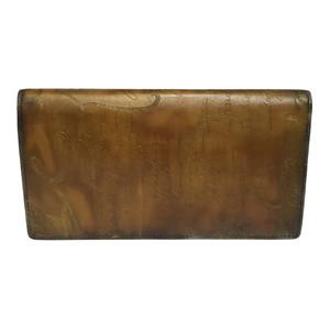 Auth Berluti 135264 Calligraphic Leather Long Wallet (bi-fold) Brown