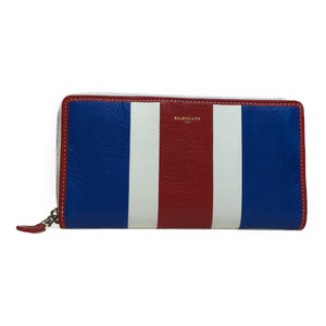 Auth Balenciaga 443655 Continental Bazaar Leather Long Wallet (bi-fold) Blue,Red,White