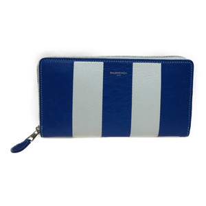Auth Balenciaga 443655 Continental Bazaar Leather Long Wallet (bi-fold) Blue,White