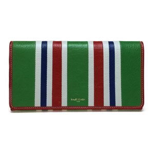 Auth Balenciaga 443654 Annie Bazaar Leather Long Wallet (bi-fold) Multi-color