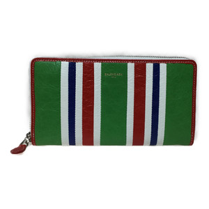 Auth Balenciaga 443655 Continental Bazaar Leather Long Wallet (bi-fold) Multi-color