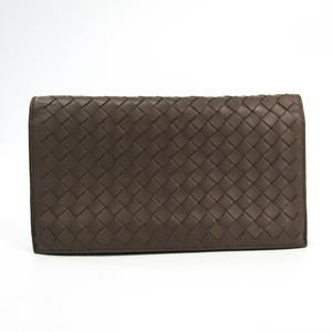 Bottega Veneta Intrecciato Unisex  Calfskin Long Wallet (bi-fold) Gray
