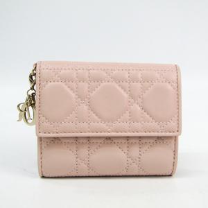 クリスチャン・ディオール(Christian Dior) カナージュ/レディ・ディオール レディース  ラムスキン 財布(三つ折り) ピンク
