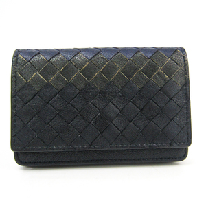 Bottega Veneta Intrecciato 113283 Leather Card Case Black,Dark Blue,Dark Gray